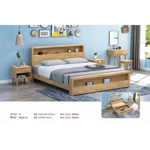 北欧风格实木床原木色橡胶木家具1.8米双人床厂家直销