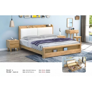 现代简约北欧实木床主卧双人1.5m1.8m软包大床经济型